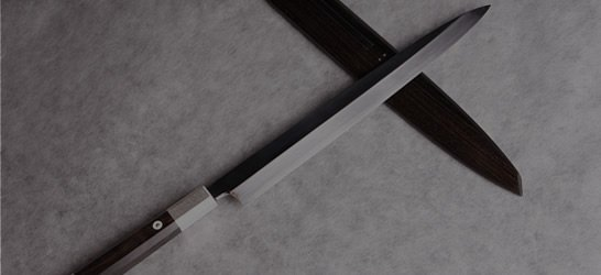 White Steel I (Shirogami I), Water-Honyaki, Mirror finish, Shobu, Yanagiba, Silver collar rings, Ebony handle, Ebony sheath with the silver plate