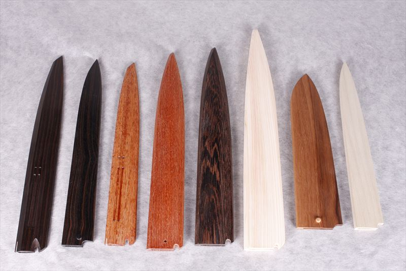 Knife sheaths, Ebony, Quince, Bombay black wood, Japanese cypress, Walnut, Japanese bigleaf Magnolia