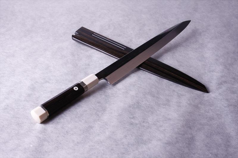水本焼 白一鋼 柳刃・正夫 象牙口輪黒檀八角柄 黒檀鞘